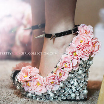 Floral Rhinestone Studded  Wedge Shoes