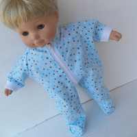 """American Girl Bitty Baby Clothes 15"""" Doll Blue Brown Polka Dot Flannel Zip Up Feetie Pajamas Pjs Sleeper"""