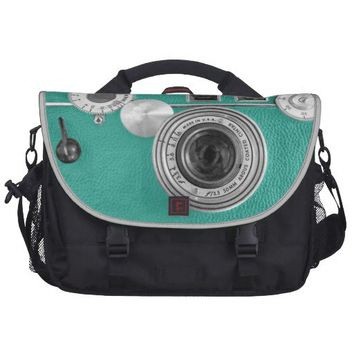 Teal Retro Vintage Camera Rickshaw Commuter Bag from Zazzle.com