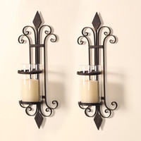 Iron and Glass Vertical Wall Hanging Candle Holder Sconce (Holds One Pillar Candle) - Set of 2