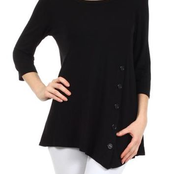 Tunic Top For Women Shirt Asymmetric Hem Solid Black: S/M/L/1XL