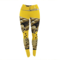 "Thomas Fuchs ""Music as Medicine"" Yellow Brown Yoga Leggings"