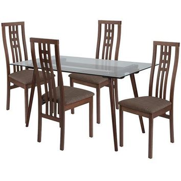 Orland 5 Piece Walnut Wood Dining Table Set with Glass Top and High Triple Window Pane Back Wood Dining Chairs - Padded Seats