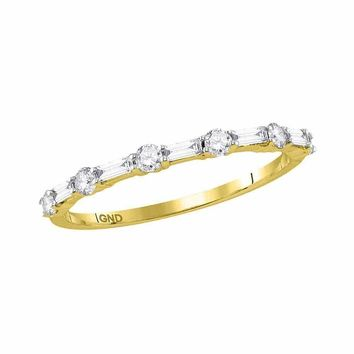 10kt Yellow Gold Women's Round Baguette Diamond Stackable Band Ring 1-3 Cttw - FREE Shipping (US/CAN)