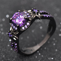 Antique Amethyst Purple Oval  Princess Ring