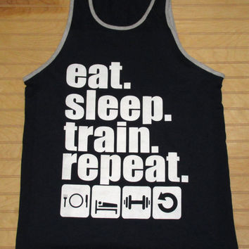 Men's Jersey Tank Top Eat Sleep Train Repeat Work Out