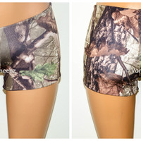 Seamless Reversible Camo Booty Shorts, Music Festival Shorts, Stretchy Spandex Short Shorts, Workout Shorts, Club Wear
