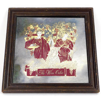 "70s Art Nouveau Etched Glass Bar Sign - ""The Wine Cellar"" Burgundy Red and Gold Square Engraved Mirror Wall Art - Ladies with Grape Vines"