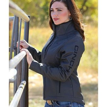 Cinch Women's Black Herringbone Printed Bonded Jacket