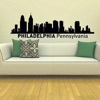 WALL DECAL VINYL STICKER PHILADELPHIA SKYLINE CITY SILHOUETTE DECOR SB145