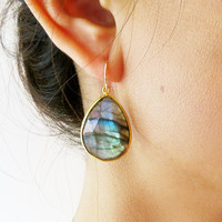 Labradorite Gold Earrings