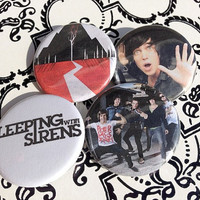 "Set of 4 Sleeping With Sirens Pinback Buttons 1.25"" each Free Bonus Pin"