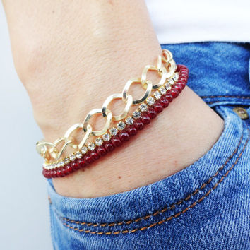 Chunky chain bracelet, gold plated swarovski jewelry best friend birthday christmas gift layered jewelry turkish istanbul beaded accessories