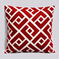 Greek Key Neo  Decorative pillow cover in red and by Pillowation