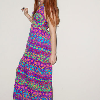 70s Hippie Flower Power Woodstock Purple Halter Psychedelic Maxi Dress Small S