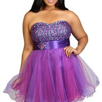 plus size strapless party dress with stone bodice and wire hemline - debshops.com