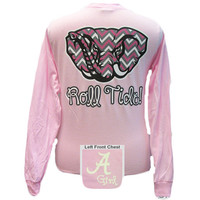 New Alabama Crimson Tide Chevron Logo Pink Bright Long Sleeve T Shirt
