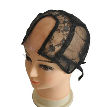 "2""*4"" U Part With Lace Wig Cap For Making Wigs With Adjustable Straps Left/Centre/Right Parting Weaving Cap Size S/M/L"