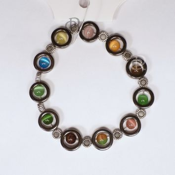 MagneHealth Magnetic Rings Multi-Color Cat's Eye Beads Elastic Bracelet
