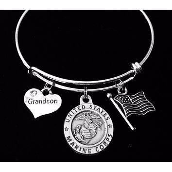 Marine Grandson Gift for Grandmother of Marine Jewelry Expandable Charm Bracelet Silver Adjustable Bangle One Size Fits All Gift Marines USMC