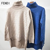 FENDI Autumn Winter Fashion Women F Letter Jacquard Knit High Collar Sweater Sweatshirt