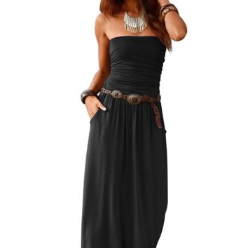 Black Strapless Bodice Empire Waist Pockets Maxi Dress