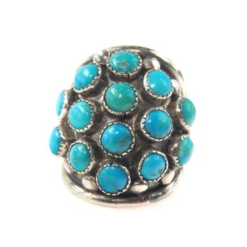 Old Pawn Turquoise Studded Sterling Ring
