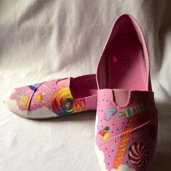 candy dreams custom toms hand painted sugar sweet confections converse shoes