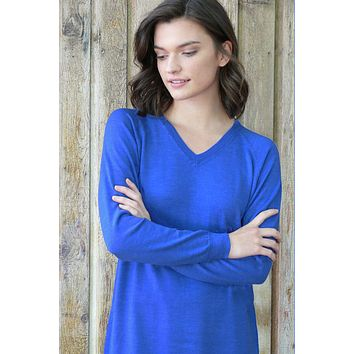 Merino Eco-Wool V-neck Tunic Sweater