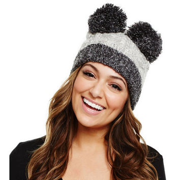 Bethany Mota Double Pom Pom Cable Knit Hat - A273809 — QVC.com