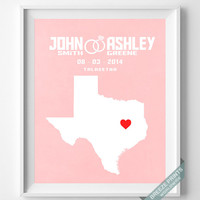Personalized, Print, Texas, Wedding, Anniversary, Customized, Family, State, Groom, Bride, Wall Art, Home Decor, Marriage, Love [NO 42]