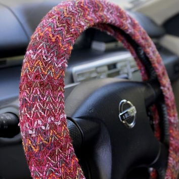 Steering wheel cover – Warm winter steer cover – car decor, accessories – automobile gift, car gift