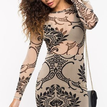 Damask Mesh Bodycon Dress