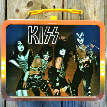 Vintage 1977 KISS Metal Lunchbox and Thermos Authentic