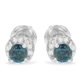 14k White Gold 1ct Treated Blue and White Round Cut Diamond Stud Earrings