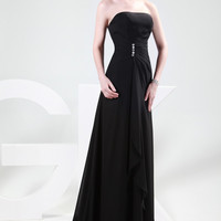 Black  Mermaid Strapless Beads Detail Ruched Evening Dress