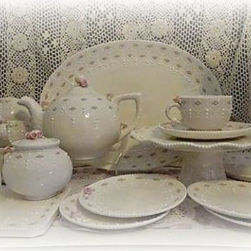Complete Rosette Tea Set USA Handcrafted Ceramics