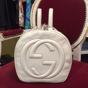 GUCCI White Soho Boston Bag Women's
