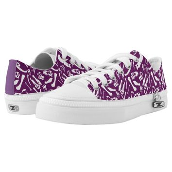 Dinosaur Bones (Purple) Low-Top Sneakers
