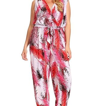 Rue21+ Red Pink Abstract Sleeveless Plus Size Harem Jumpsuit Romper U.S.A