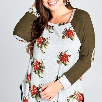 Giuliana Olive and Floral Elbow Patch Top (Curvy)