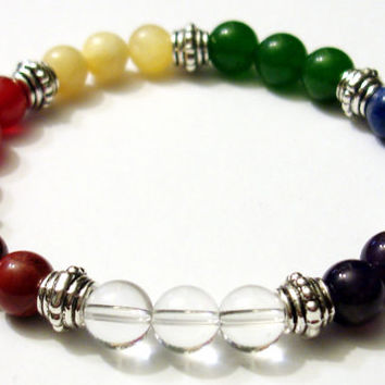 CHAKRA BALANCER 8mm Crystal Intention Stretch Bead Bracelet w/Card- Jasper, Carnelian, Calcite, Aventurine, Lapis, Amethyst, Clear Quartz