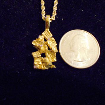 bling 14kt yellow gold plated good luck lucky nugget sign symbol casino gambling pendant charm 24 inch rope chain hip hop trendy fashion necklace jewelry