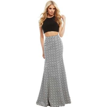 Mac Duggal Womens Textured Pattern Crop Top Dress