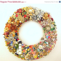 Year Round Wreath Covered in Vintage Jewelry - Four Seasons - Winter, Summer, Spring, Fall - Shabby Chic
