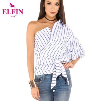 Women Blouses One Shoulder V-Neck Striped Blouse Shirt Puff Sleeve Casual Shirts Women Bow Tie Waist Slim Tops LJ8615R