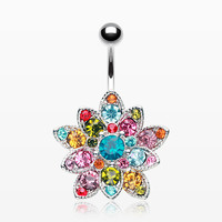 Brilliant Flower Dazzle Belly Button Ring