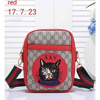 GUCCI 2018 Tide Brand Fashion Women High Quality Leather Backpack F-RF-PJ red