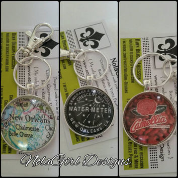 New Orleans inspired Keychain, NOLA, Map, Keychains, custom keychain, fathers day gift, men, women, fun keychain,new orleans, gift,Groomsmen