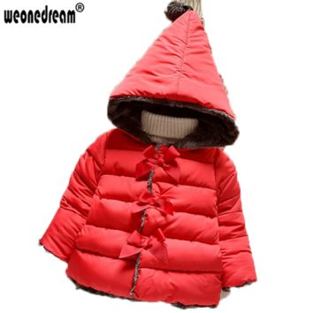 WEONEDREAM 2017 Winter Baby Girls Cotton Down Solid Bow Hooded Kids Parkas Princess Style Snow Wear Outerwear Coat 3 Clolors